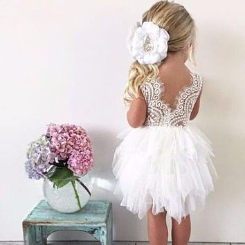 infant toddler girls delicate lace cake dress children princess backless tutu party gown 1st birthday vestido summer clothes