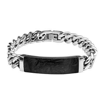 Solid Carbon Graphite w/ Curb Stainless Steel Chain ID Bracelet 8""