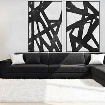 large Abstract wall art minimal painting canvas handmade Original Acrylic Painting black and white extra large wall decor minimal art
