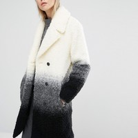Native Youth Boucle Textured Gradient Overcoat at asos.com