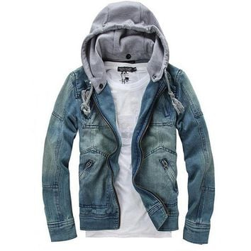 Fashion good Autumn Winter Men Clothing Hooded Denim Jacket Outside Casual Jeans Coats Outerwear-Blue