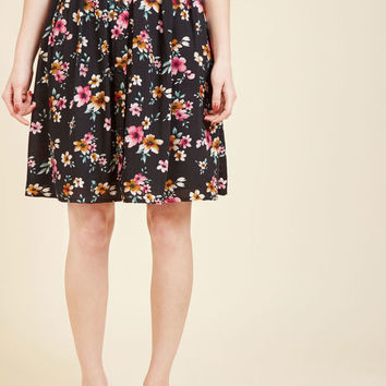 Bookstore's Best A-Line Skirt in Noir Blossom
