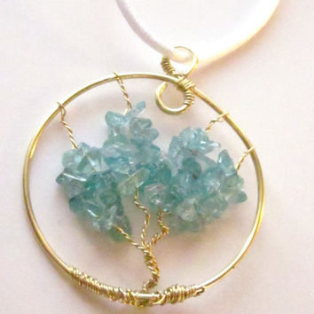 Beautiful Blue Green Apatite Gemstone Tree of Life Pendant