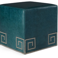 Gibson Leather Greek Ottoman, Blue, Ottomans