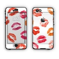 The White with Colored Pucker Lip Prints Apple iPhone 6 Plus LifeProof Nuud Case Skin Set