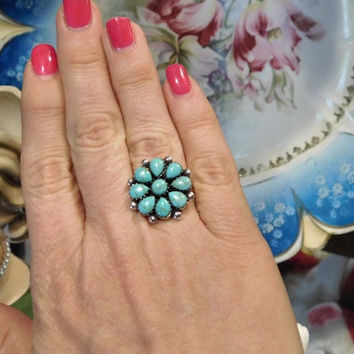 Cluster Turquoise Ring Blossom Petit Point Petitpoint Needlepoint Native American Sterling Silver Southwestern Vintage Turquoise Ring BOHO