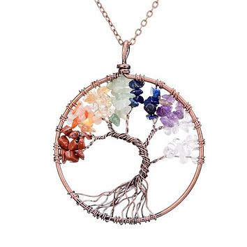 Tree Of Life Pendant 7 Chakra Handmade Copper Crystal Natural Stone Copper Necklaces