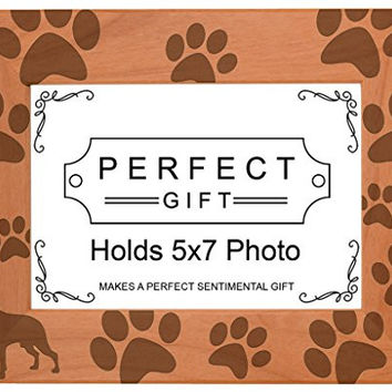 Dog Lover Gift Boston Terrier Paw Prints Natural Wood Engraved 5x7 Landscape Picture Frame Wood
