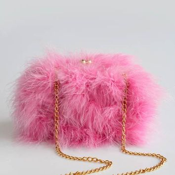 Quality Ostrich Feathers Chain Shoulder Bags