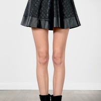 Black Quilted Leatherette Circle Skirt |  MakeMeChic.com