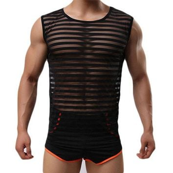 Mens Sexy Fitness Training Sleeveless Stripes Visible Printing Cool Sport Tank Tops