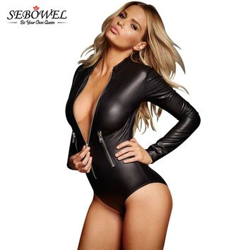 New Fall Black Pu Sexy Rompers Ladies Monos Vaqueros Mujer 2017 Womens Bodysuit Long Sleeve Zipper Front Bodycon Short Jumpsuit