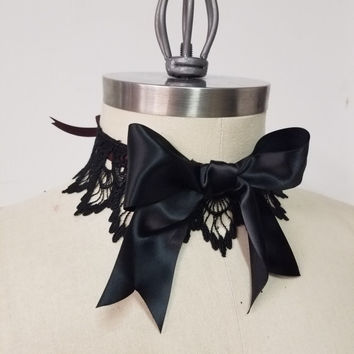 """Gothic Lolita Lace Choker Necklace - Goth Victorian Steampunk- Hypoallergenic Handmade """"Gothic Bow Choker"""" -Custom to Order"""
