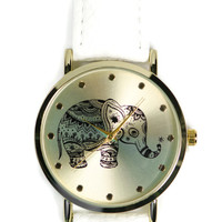 Geneva Ladies Elephant Print Leather Strap Watch -White