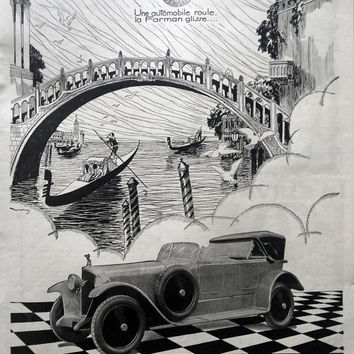 FARMAN automobiles advertising, vintage poster, original art deco ad, car poster, French magazine page from 1925