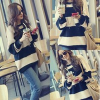 New Korean Style Fashion Outerwear Women Loose Long Hooded Sweater Pullover