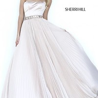 Long Pleated Strapless Ball Gown by Sherri Hill