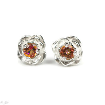 Sterling Silver Flower Stud Earrings with Genuine Sunrise Mystic Topaz Center