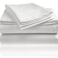 Cozy Home 1800 Series Embossed Striped 4-Piece Sheet Set Queen - White