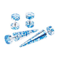 Blue & Silver Metallic Splatter Faux Taper And Plug 4 Pack