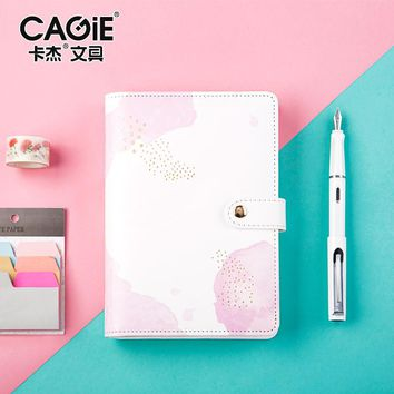 CAGIE Creative Trends A6 Spiral Notebook Kawaii Planner Organizer Personal Diary Journals Pu Leather School Agenda Filofax KIKKI