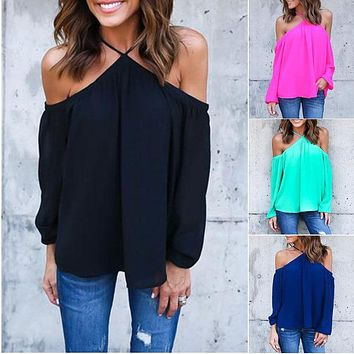 Fashion Women Off Shoulder Chiffon Blouse Summer Long Sleeve Casual Loose Shirt Women Sexy Backless Tops Plus