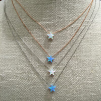 NC2002302 BLUE CZ WITH STAR NECKLACE