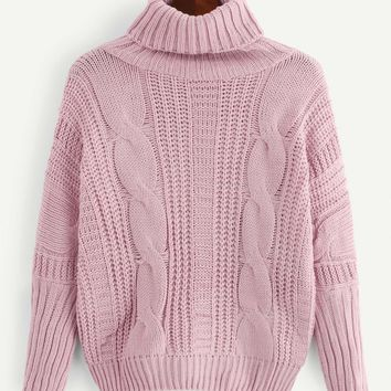 Solid Cable Knit High-Neck Sweater
