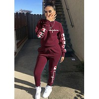 Champion Classic Popular Women Print Long Sleeve Top Pants Trousers Set Two-Piece Burgundy