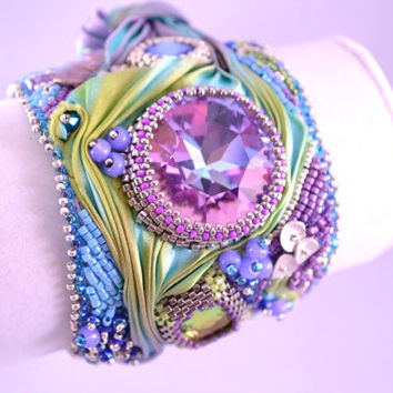 Handmade Shibori Ribbon and Swarovski Crystal Cuff Statement Bracelet Lavender, Teal and Lime Green OOAK