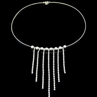Wire Necklace Metal Ball Bead Chains Fringe Bib Silver Tone