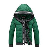 Mens New Fashion Warm Hooded Down Jacket Short Male Down Jacket Clothing