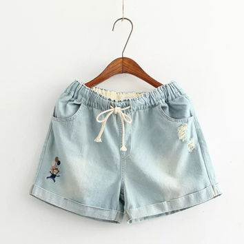 Embroidery Ripped Holes Pants Denim Shorts [6034180161]