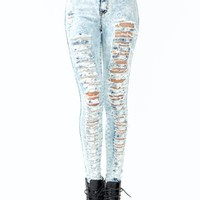 high-waisted distressed jeans 1 LTBLUE