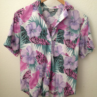 Vintage Floral Hawaiian Print Button-up Shirt