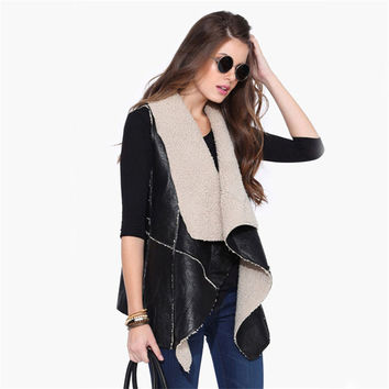 GOPLUS 2016 New Fashion Faux Leather Jacket Women Winter Fashion Wool coat Faux fake fur Vest Motorcycle Biker Jacket Coat C3291