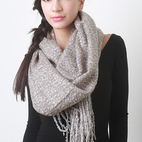 Fuzzy Woven Knit Scarf