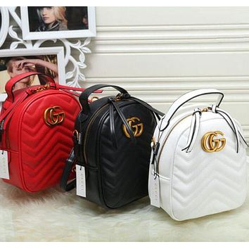 ONETOW Gucci Women Fashion Leather Backpack Bookbag