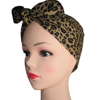 Brown Leopard Fabric Head Wrap Scarf
