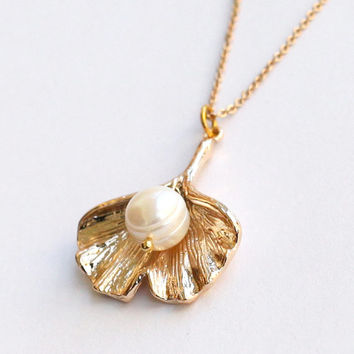 ginkgo leaf necklace with freshwater pearl, gold Ginkgo Necklace