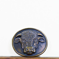 Vintage Cow Belt Buckle, Malcolm Hereford Cows Cocktails, 1975, Bison Buckle, Buffalo Buckle, Steer Buckle, Brass, Myers-Suzio, Breweriana