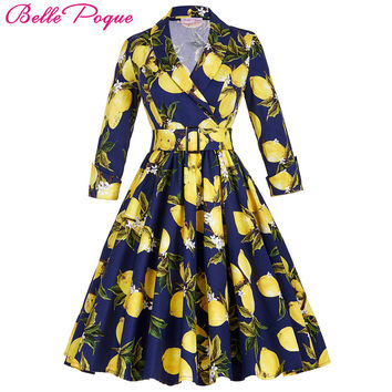 Women winter Vintage Rockabilly Dress 2016 Stock 3/4 Sleeve V-Neck Floral Pattern Retro Vintage Cotton autumn Casual Dresses