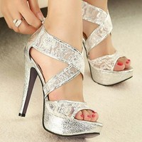 Glitter Lace Stripe Gorgeous Wedding Bridal shoes Platform Sandals High Heels