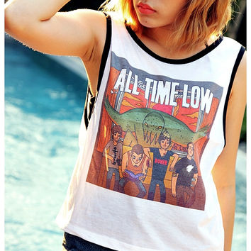 All Time Low, Shirt Tank Top Sexy Summer Sideboob Women Tops Size S, M, L
