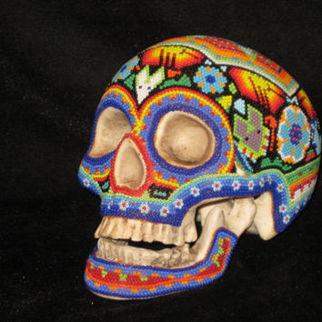 Wonderful Huichol Indian Hand Beaded Mexican Folk Art Day of the Dead Skull