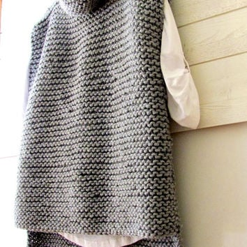 Chunky Sweater Vest Cowl Knit Wool or Acrylic Vest Long Sleeveless Sweater Women's Clothing Made to Order FREE SHIPMENT