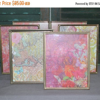 ON SALE Vintage gold metal 8x10 picture frame collection - Antique picture frames, gold decor, wedding frames, table numbers