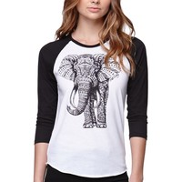 Riot Society Ornate Elephant Raglan T-Shirt - Womens Tee - Black