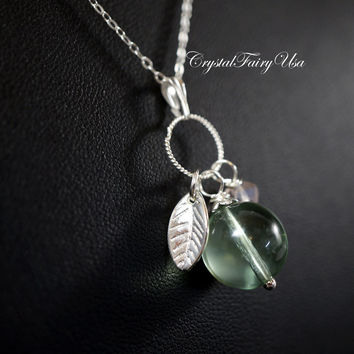 Fluorite Necklace - Sterling Silver Green Stone Necklace -  Silver Green Fluorite Tassel Necklace - Heart Chakra Healing