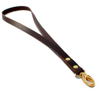Key lanyard, leather lanyard in brown leather, ID lanyard, ID badge holder lanyard, nurse lanyard, key chain lanyard, leather strap keychain